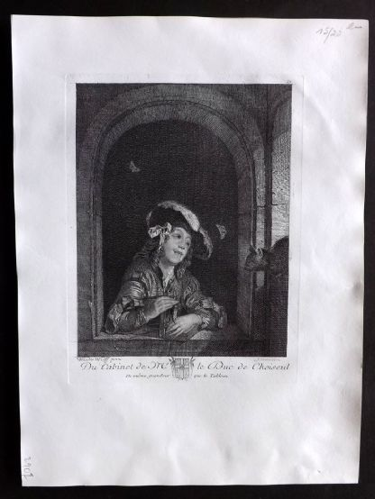 After Adriaen van der Werff C1820 Antique Print. A Boy with Mousetrap
